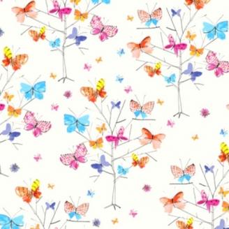 Tissu patchwork papillons colorés fond blanc - Kaleidoscope