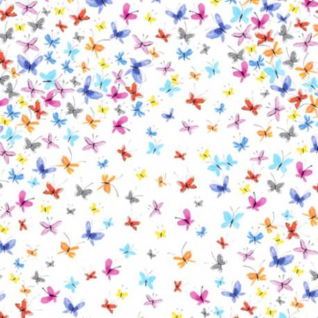 Tissu patchwork nuée de papillons colorés fond blanc - Kaleidoscope