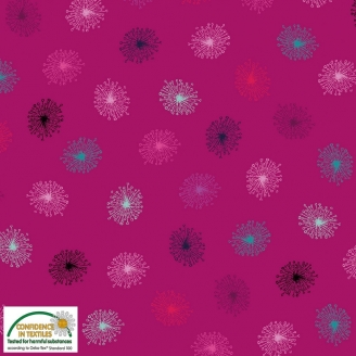 Tissu patchwork pissenlit fond fuchsia - Roadside flowers