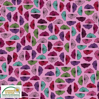 Tissu patchwork feuilles éventails fond rose - Roadside flowers