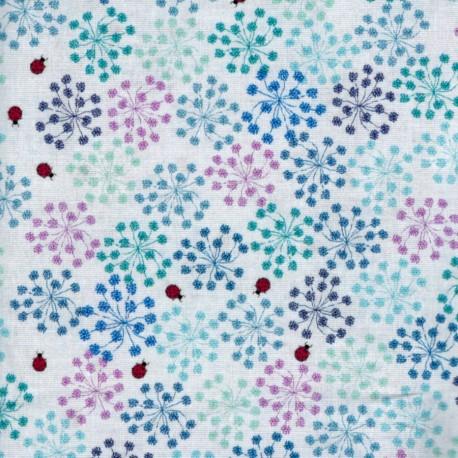 Tissu patchwork coccinelles et fleurs fond gris clair - Roadside flowers