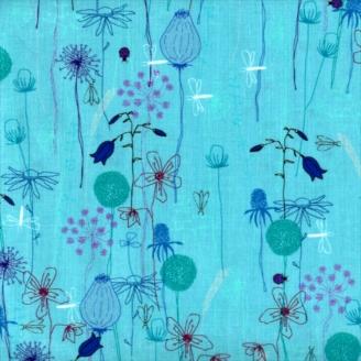 Tissu patchwork fleurs des champs fond prune - Roadside flowers
