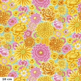 Tissu Kaffe Fassett grandes fleurs jaunes Enchanted fond bleu GP172