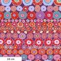 Tissu Kaffe Fassett rangs de fleurs Row flowers rouge GP169