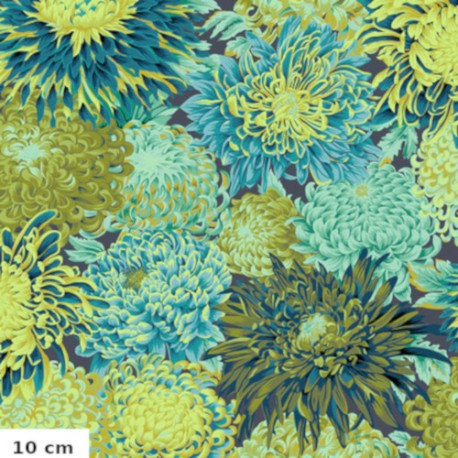 Tissu Kaffe Fassett chrysanthèmes japonais Forêt PJ041