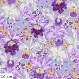 Tissu Philip Jacobs - Grandes orchidées mauve fond gris Orchids PJ092