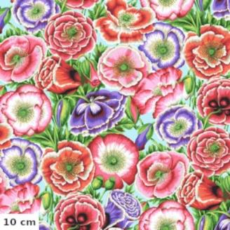Tissu Philip Jacobs Coquelicots rose et violet Poppy Garden PJ095