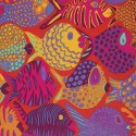 Tissu Brandon Mably poissons Shoal fond rouge tomate BM051