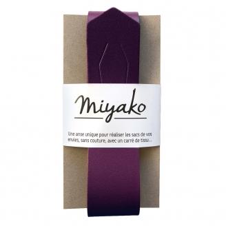 Anse de sac en cuir Miyako - Prune