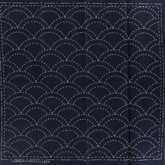 "Coupon de tissu broderie Sashiko ""Mer bleue et vague"""