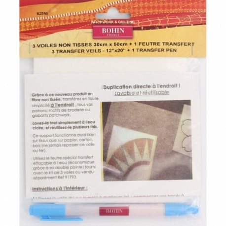 Kit de transfert Bohin : 3 voiles + feutre