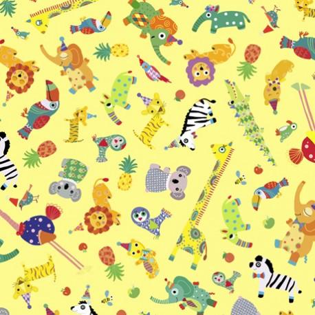 Tissu patchwork enfant animaux fond jaune - Safari in the sky