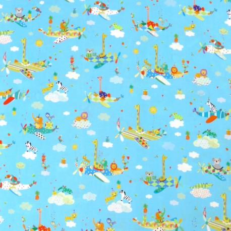 Tissu patchwork enfant animaux et avions fond bleu- Safari in the sky