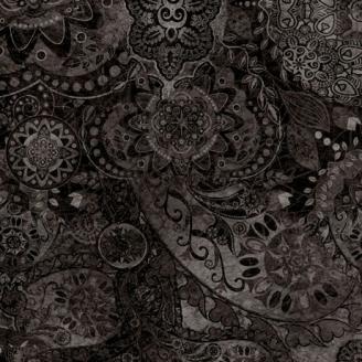 Tissu patchwork faux-uni Mandala noir Vol de nuit - Bohemian