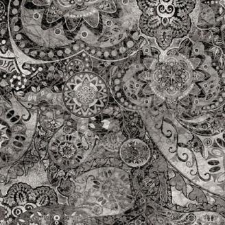 Tissu patchwork faux-uni Mandala gris moyen - Bohemian