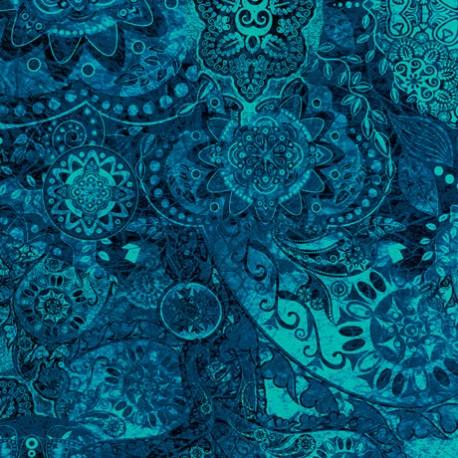 Tissu patchwork faux-uni Mandala bleu océan - Bohemian Rhapsody