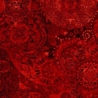 Tissu patchwork faux-uni Mandala rouge foncé - Bohemian Rhapsody