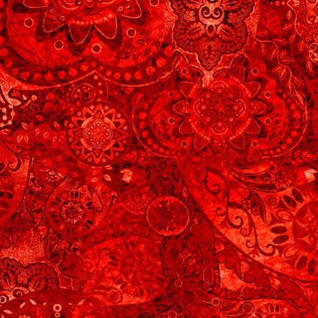 Tissu patchwork faux-uni Mandala rouge piment - Bohemian Rhapsody