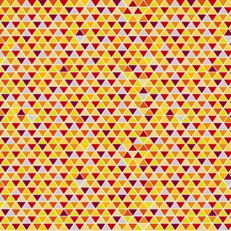 Tissu patchwork minis triangles jaune et rouge - Safari in the sky