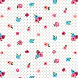 Tissu patchwork petites roses éparses fond blanc à pois - Sweet Caroline