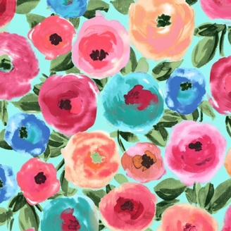 Tissu patchwork fleurs multicolores fond turquoise - Sweet Caroline