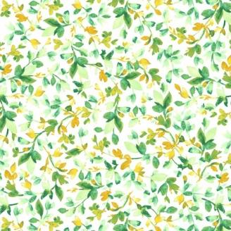 Tissu patchwork feuilles de vigne verte fond blanc - Annabelle