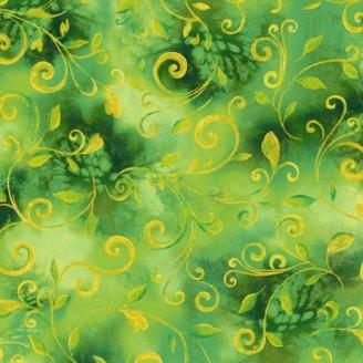Tissu patchwork volutes verts - Annabelle