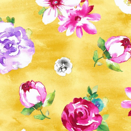 Tissu patchwork fleurs variées fond jaune - Annabelle
