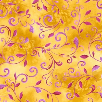 Tissu patchwork volutes fuchsia fond jaune - Annabelle
