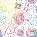 Tissu patchwork grande largeur fleurs multicolores fond blanc (10 x 270 cm)