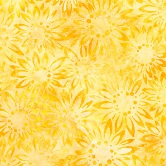 Tissu Batik tournesol jaune ton sur ton