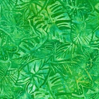 Tissu Batik feuilles tropicales fond vert