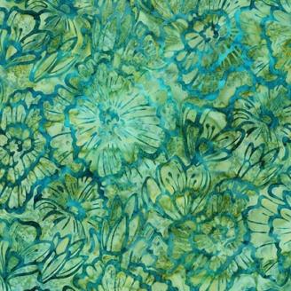 Tissu Batik fleurs pétrole fond vert