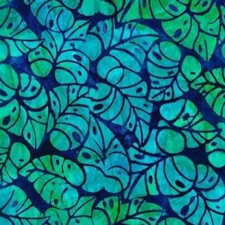Tissu Batik feuilles turquoise fond bleu foncé