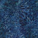Tissu batik éclosion fond bleu foncé