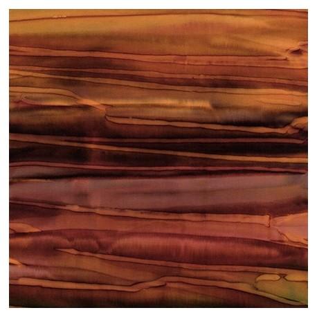 Tissu batik rayé brun russet