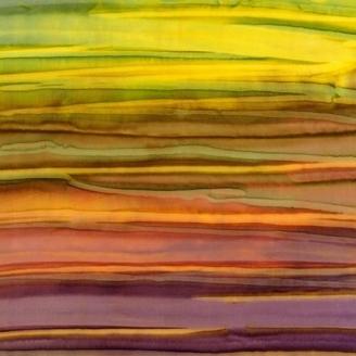 Tissu batik rayé vert violet Adventure