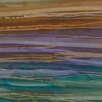 Tissu batik rayé turquoise violet brun