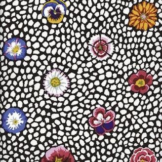 Tissu Kaffe Fassett Fleur de Guinée rose fond marron (Guinea flower)