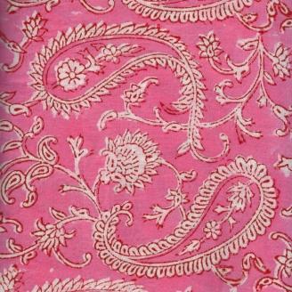 Voile de coton indien - Fleurs roses fond rose