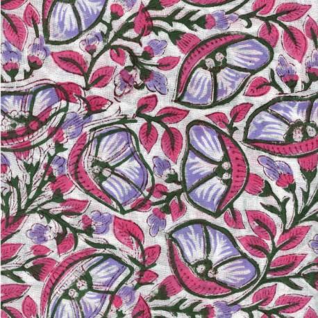 Voile de coton indien - belle de jour rose/violet fond blanc cassé