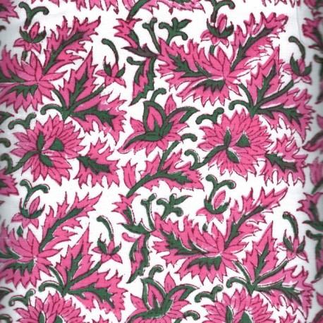 Voile de coton indien - fleur rose fond blanc cassé