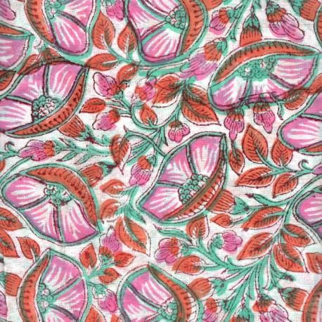 Voile de coton indien - belle de jour rose/orange fond blanc cassé