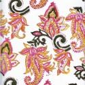 Voile de coton indien - fleur cachemire rose/jaune fond blanc cassé