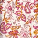Voile de coton indien - floraison jaune/rose fond blanc cassé