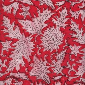 Voile de coton indien - feuillage fond rouge