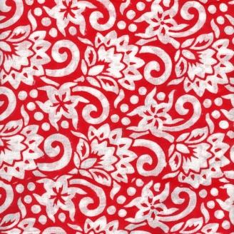 Voile de coton indien - fleur blanche fond rouge