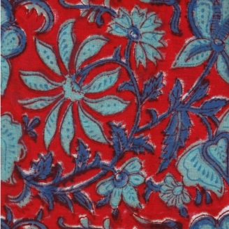 Voile de coton indien - fleur bleue/turquoise fond rouge