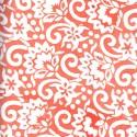 Voile de coton indien - fleur blanche fond orange melon