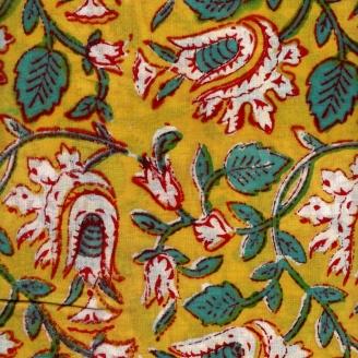 Voile de coton indien - feuillage vert fond jaune curry